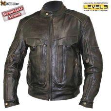 Retro Brown Bandit Buffalo Leather Cruiser Moto...